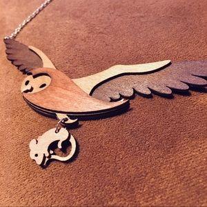 Jewelry - Handmade wooden British designer•Owl and prey•